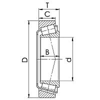 Konstruktionszeichnung eines Kegelrollenlagers